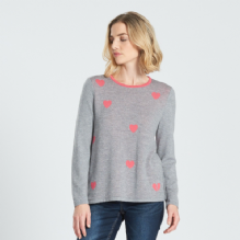 Heart Jumper Light Pewter & Peony